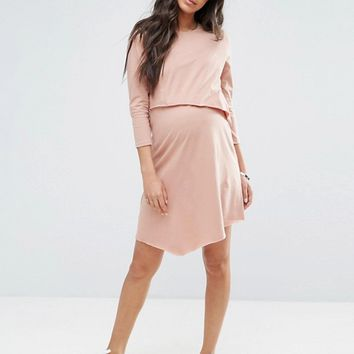 ASOS Maternity NURSING Short Sleeve Asymmetric Dress with Double Layer at asos.com