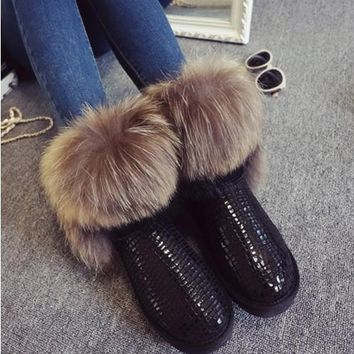2018 hot Women's Natural Real Fox Fur Snow Boots 100% Genuine Leather women Boots Female Winter Shoes