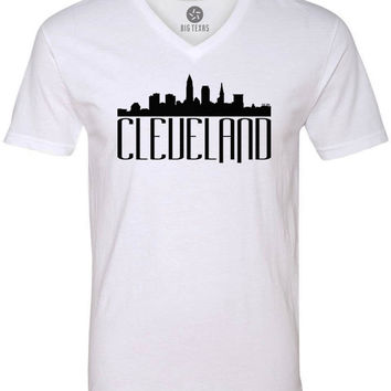Cleveland Skyline (Black) Short-Sleeve V-Neck T-Shirt