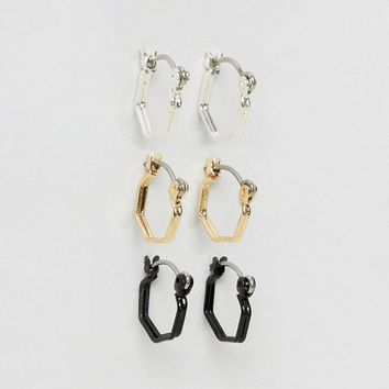 ASOS Hexagon Hoop Earring Pack In Mixed Finish at asos.com