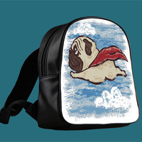 Flying Pug for Backpack / Custom Bag / School Bag / Children Bag / Custom School Bag *