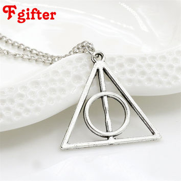 Retro Silver Necklace Potter Deathly Hallows Rope Pendant Necklace Elephant Bird Compass Charms Choker Necklaces