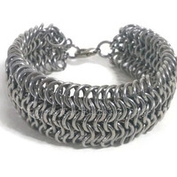 ON SALE! Chainmaille Cuff, Chunky, Wide Bracelet, Mens, Ladies, Biker, Knight, Armor