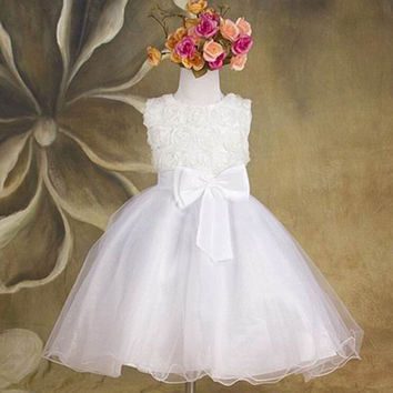 2016 Summer New Arrival Flower Princess Girl Dress Lace Rose Party Wedding Birthday Girls Dresses Candy Princess Tutu Elegant