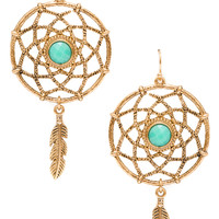 Dream Catcher Earrings - One Size / Gold