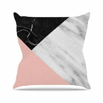"Cafelab ""Marble Collage With Pale Pink ""  Gray Pink Outdoor Throw Pillow"
