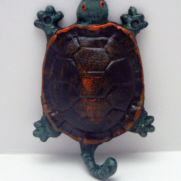 Turtle Cast Iron Wall Hook Green Orange Sea Life Nautical Decor Hat Key Jewelry Pet Leash Small Item Tail Hook