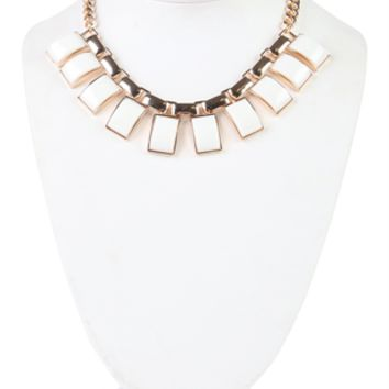 Short Chain Necklace with Rectangle Stones
