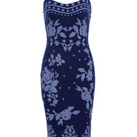 Blue Flora Spaghetti Strap Low Cut Back Midi Bodycon Dress
