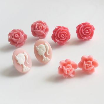 Floral Ear Posts. Pink Roses, Pink Cameo Cabochon Earring Studs, Pink Flowers Ear Jewellery Accessories. Set of Four Pairs