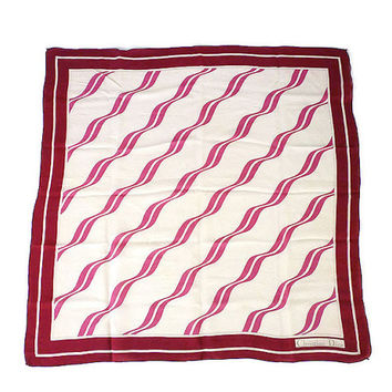 Christian Dior, Silk Scarf, Maroon Red Ivory, Color Block, Wavy Lines, Made in France, Vintage Fashion, Designer Accessories