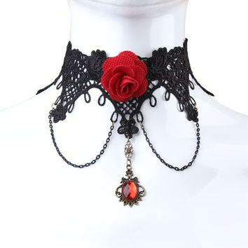 Women Lace Gem Rose Necklace Choker  [8081687047]