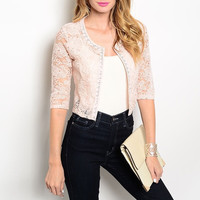 Rhinestone & Floral Lace Sheer Bolero in Light Pink