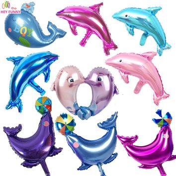 HEY FUNNY 5 pcs/set Dolphin Fish Ocean Balloons Cartoon clown fish foil balloons for baby shower party decoration children gift