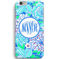 Blue May Fflower Personalized Monogram Inspired Lilly Pulitzer iPhone 6 Case, iPhone 5S Case