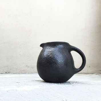 HANDMADE Rustic Black Pitcher 56 oz - Ready to Ship - Ceramic, Pottery, Jug