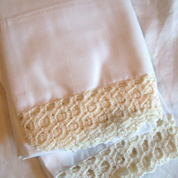 Vintage Crocheted Pillow Cases