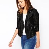 Warehouse Rib Sleeve Biker Jacket at asos.com