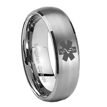 8MM Classic Satin Silver Dome Medical Alert Tungsten Laser Engraved Ring