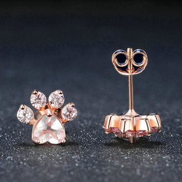 1Pair Shiny Pink Stud Earrings Jewelry Party Gifts Cat Dog Paw Crystal Cubic Zircon Print Earring Female Piercing