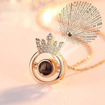 """100 Languages """"I LOVE YOU"""" Crown Necklace,Ring"""