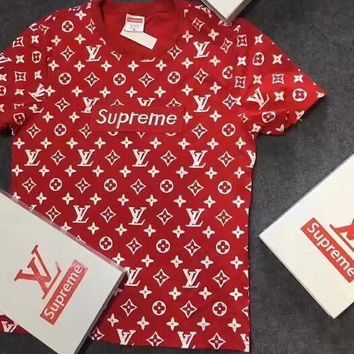 LV SUPREME SHIRT TOP TEE RED H-A-XYCL