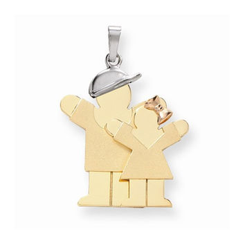 14k Tri-color Big Brother/Little Sister Love Charm