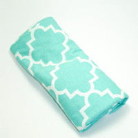Mint Quatrefoil Swaddle Blanket, Baby Swaddler, Baby Receiving Blanket, Mint Baby Swaddler, Lightweight Cotton Blanket, Quatrefoil Blanket