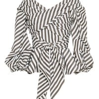 Chicloth White and Black Stripes Half Sleeve Bow Tie Blouse