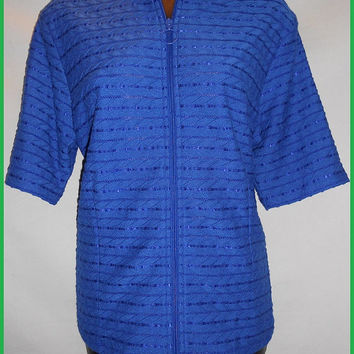 Vintage Blue Blouse Textured Stretchy Petite Medium