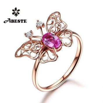 ANI 18K Rose Gold (AU750) Women Wedding Diamond Ring Certified Natural Pink Sapphire Butterfly Shape Engagement Gemstone Ring