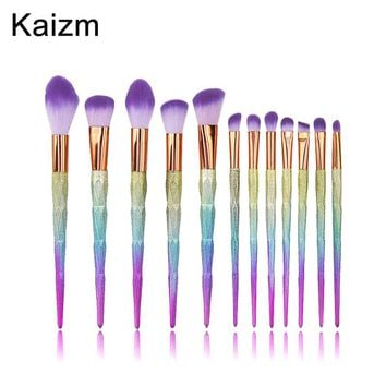 12pcs Unicorn Diamond Shape Makeup brushes Glitter brochas Blusher Powder Eyeshadow Lip Foundation Brush pincel de unicornio