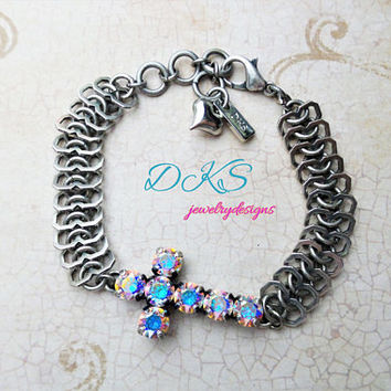 Swarovski Cross Bracelet, Aroura Borealis, 6mm, Antique Silver, Faith Jewelry, Easter Jewelry, DKSJewelrydesigns, FREE SHIPPING