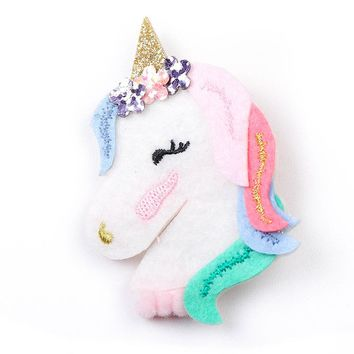 Boutique 10pcs Fashion Cute Glitter Floral Unicorn Horse Hairpins Kawaii Solid Felt Rainbow Hair Clips Princess Headware