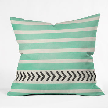 Allyson Johnson Mint Stripes And Arrows Throw Pillow