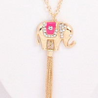 Elephant Necklace: Pink