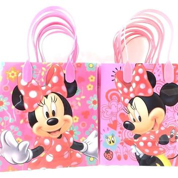 Licensed Minnie Mouse Reusable Premium Party Favor Goodie Small Gift Bags 12 Pcs