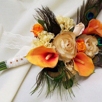 Peacock Weddings Fall Bridal Bouquet Orange by AmoreBride on Etsy