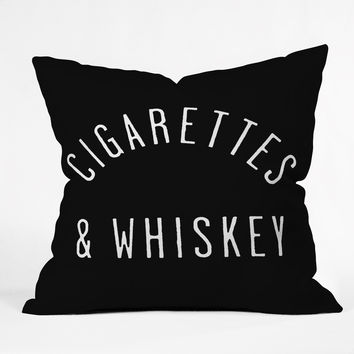 Leeana Benson Cigarettes N Whiskey Throw Pillow