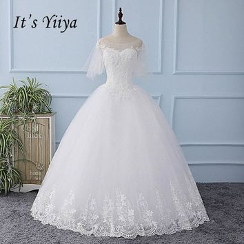It's YiiYa White Half Sleeve Illusion Wedding Dress Lace Up Appliques Tulla Bride Wedding Gown Vestidos De Novia Casamento XL615