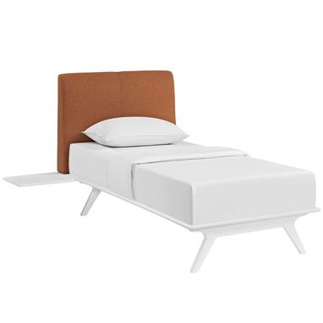 Tracy 3 Piece Twin Bedroom Set in White Orange