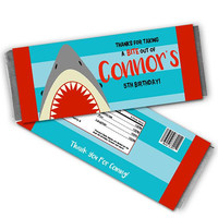 Shark Candy Wrappers - Shark Birthday Party Favors - Shark Party - Shark Goody Bag - Shark Candy Labels - Personalized Shark Labels Boys Kid