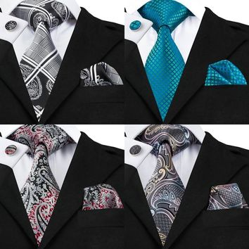 20 Designs Mens Silk Tie Set Grey Paisley Necktie Hanky Cufflinks Set For Men Formal Wedding Business N-0359