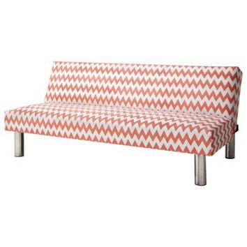 Pattern Chevron Futon - Coral & White