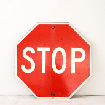 "road sign, stop sign, traffic sign, industrial sign, street sign, authentic vintage metal stop sign, large 24"" octagon, industrial decor"
