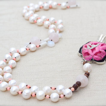 Pretty rose pink pearl moonstone mala Tribal pendant Ethnic Silk embroidery 108 prayer beads Folk art Rosary Quartz Coral flower Shabby chic
