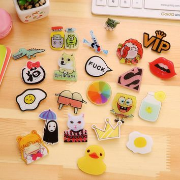 1 PCS Icon Free Shipping Kawaii Animal Badge Harajuku Acrylic Pin Badges Cartoon Backpack Pins Icons HZ01