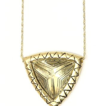 Etched Geometric Pyramid Medallion Necklace Crystal Gold Tone NN01 Vintage Zigzag Pendant Fashion Jewelry