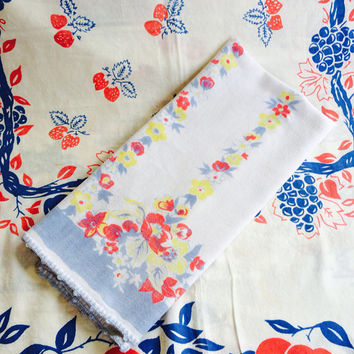 Floral Tea Towel Soft Brushed Cotton Blue Pink Yellow Vintage Kitchen Grandma Chic