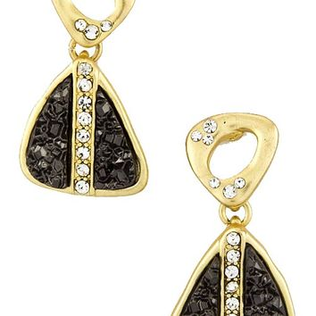 Gold & Black Druzy Triangle Present Earrings